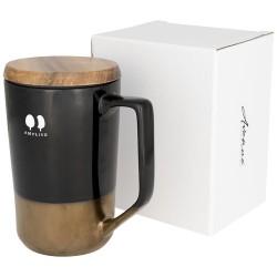 Tahoe 470 ml ceramic mug with wooden lid