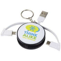 Wrap-around 3-in-1 charging cable with keychain