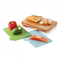 Cutting board with 4pcs hygienic boards, brown