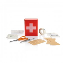 First aid tin box, red