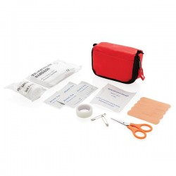 First aid set in pouch, red