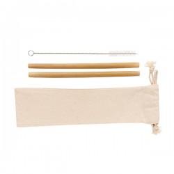Reusable bamboo drinking straw set 2 pcs, white