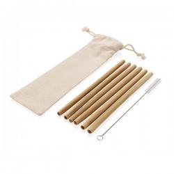 Reusable bamboo drinking straw set 6 pcs, white