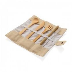 Reusable bamboo travel cutlery set, white