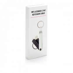 2-in-1 keychain cable MFi licensed, silver