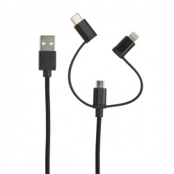 3-in-1 cable MFi licensed, black