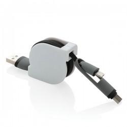 3-in-1 retractable cable, black