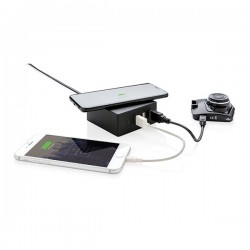 USB and 10W wireless charger, black