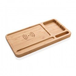 Bamboo desk organiser 5W wireless charger, brown