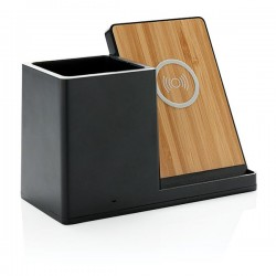 Ontario 5W wireless charger with pen holder, black