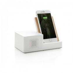 Ontario 5W wireless charger with speaker, white