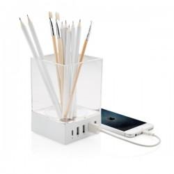 Pen holder USB charger, white