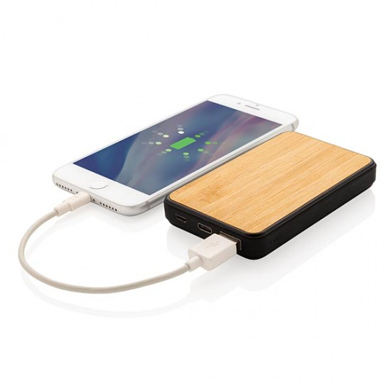 Bamboo 5.000 mAh Fashion Pocket Powerbank, black