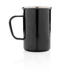 Vintage enamel mug XL, black