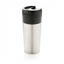 Tumbler with flip lid, silver
