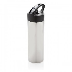 Sport bottle with straw, silver