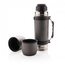 Vacuum flask with 2 cups, grey