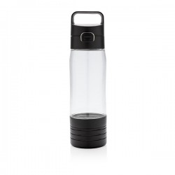 Hydrate bottle with true wireless earbuds, transparent