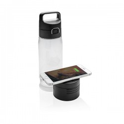 Hydrate bottle with wireless charging, transparent