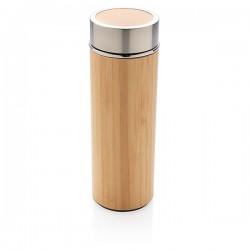 Leak proof bamboo vacuum bottle, brown