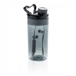 Leakproof bottle with wireless earbuds, grey