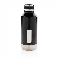 Leak proof vacuum bottle with logo plate, black