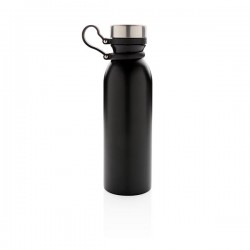 Copper vacuum insulated bottle with carry loop, black