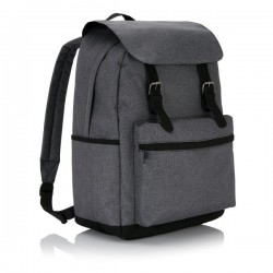 Laptop backpack with magnetic buckle straps, grey