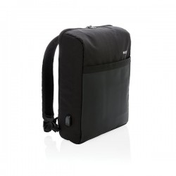"Swiss Peak 15"" anti-theft RFID & USB backpack PVC free, blac"