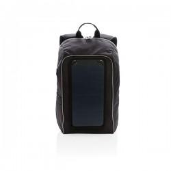 Solar panel power hiking backpack PVC free, black
