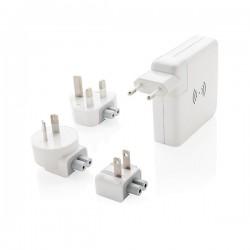 Travel adapter wireless powerbank, white