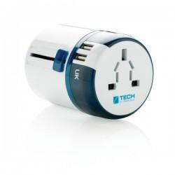Travel Blue world travel adapter USB, white