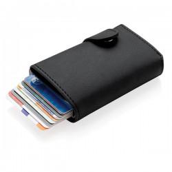 Standard aluminium RFID cardholder with PU wallet, black